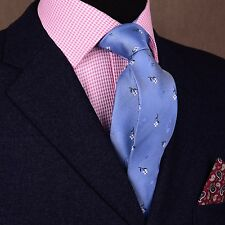 Sky Blue Oxford Textured With Artistic Flower Tie Men's Fashion 7.5cm Necktie