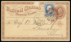 1874 NYFM TR-W8 Fancy cancel on 1¢ #UX3 postal card #156 to Switzerland early
