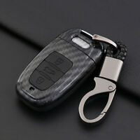 Carbon Fiber Shell+Silicone Cover Remote Key Holder Fob Case For Audi S5 S6