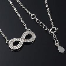 Anhänger Infinity Unendlichkeit 925 Sterling Silber Kette Schmuck Halskette 44CM