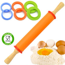 Silicon Adjustable Wooden Handle Rolling Pin 4 Adjustable Discs Ring Non-Stick