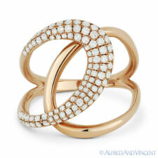 Loop Fashion Ring in 14k Rose Gold 0.57 ct Round Cut Diamond Right-Hand Overlap