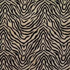 Chenille TIGER Animal Skin Stripe MIDNIGHT Black Upholstery Sewing Fabric BTY