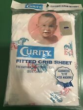 New Vintage 60's puppy kitty cat pink blue fitted crib sheet boy girl bed unisex
