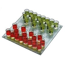 """10"""" Drinking Game Glass Chess Set Shot Glass 32  Pieces 1 1/2"""" Tall  New"""