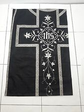 Antique French Christian Vestment Chasuble IHS Damask Silk Panel 1930's