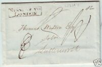! 1834 OXON BANBURY TO THOMAS WATSON LUTTERWORTH LETTER FRAMED MISSENT TO LONDON
