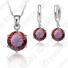 Hot Sale Cubic Zircon Wedding Pendant Necklace Huggie Hoop Earrings Jewelry Sets