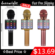 4 in 1 LED RGB Wireless Bluetooth Karaoke Microphone USB Speaker Mini Home KTV @
