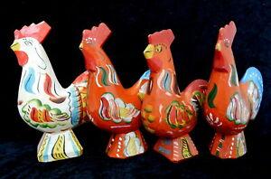 Mid Century Akta Dalahemslojd Dala Carved Wood Rooster Chicken Figure Lot Sweden