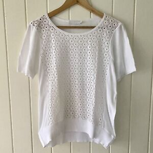 Anne Fontaine White Perforated Circle Design Shirt Top | SIZE 40