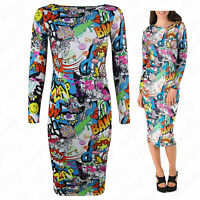 Womens Ladies Long sleeve Bang Comic Cartoon Print Bodycon Midi Stretch Dress