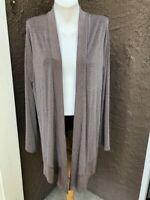New $109 Chico's Travelers Renwick Taupe Lurex Stripe Long Jacket 3 XL 16 18 NWT