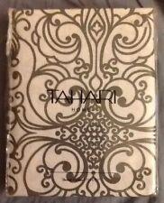 New Tahari Milan Scroll Gray White Damask Modern Fabric Shower Curtain
