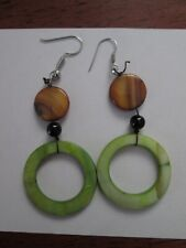 Green, Brown, Black Shell Hand Crafted Beaded Pierced Earrings-