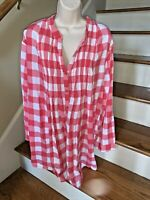 WOMAN WITHIN Sz 2X Red Pleated Checkered Picnic Plaid Blouse Top Shirt ❤️tw11j53