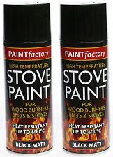 2 x High Temperature BBQ Wood Burner Stove Heat Resistant Black Matt Spray Paint