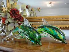 Delphin Set Skulptur Kristall Glas Kunst Delfin Figur Luxus Stil Murano Edel NEU