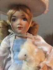 "11"" Danbury Mint Doll Little Bo Peep Porcelain With Sheep"