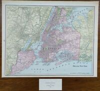 "Vintage 1900 GREATER NEW YORK Map 14""x11"" ~ Old Antique Original MANHATTAN NYC"