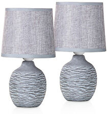 Set of 2 BRUBAKER Table or Bedside Lamps - Gray - Ceramic Base - 10.6 Inches