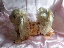 "Vintage Steiff Mohair Pekinese Puppy Dog 10"" Long Stuffed Animal Straw Head"