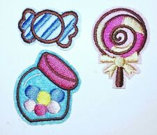 Candy Patches Jar Lolly Pop Hard Candy Embroidered Iron On ALL 3 Appliques