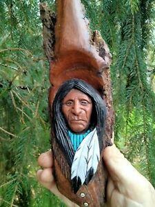 WOOD SPIRIT CARVING NATIVE AMERICAN INDIAN WESTERN ART