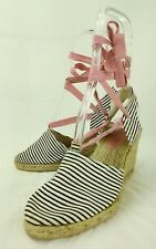 GAP Wos Shoes Heels US 7 Pink tie-up White Black Striped Wedge Espadrilles 3800