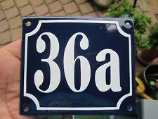 Hausnummer Emaille Nr. 36a weisse Zahl auf blauem Hintergrund 12 cm x 10 cm