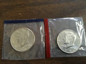 1997 P D Kennedy Half Dollars BU in US Mint Cello - 2 Coin Set