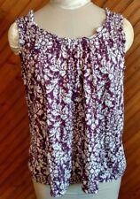 Elle Women's Size L Sleeveless Top Chelsea Girls Purple White Ruffle Trim New