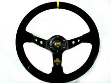 "NEW 350MM RALLY 4"" DEEP DISH BLACK SUEDE STEERING WHEEL FREE FEDEX SHIPPING"