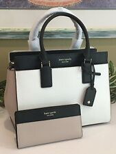 kate spade new york Cameron Medium Satchel Purse - Bright White/Warm Beige/Black