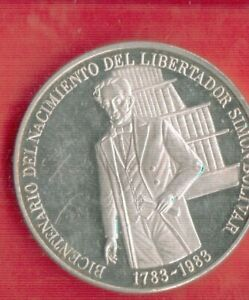 VENEZUELA 100 BOLIVARES 1983 SILVER
