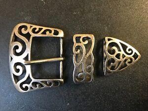 Vintage,Gothic, Western , Medieval  3 piece belt buckle.old nickel  plaiting.