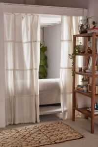 NEW URBAN OUTFITTERS PIECED CROCHET 2 PIECE SET CURTAIN WINDOW PANELS IVORY