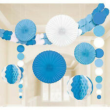 BLUE AND WHITE DELUXE ROOM DECORATING KIT (9pc) ~ Birthday Party Supplies Shower
