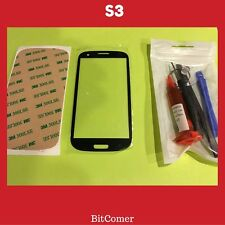 Samsung Galaxy S3 Blue Front Glass Lens screen Replacement Kit+Tool Glue