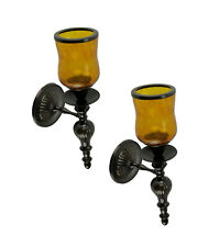 Scratch & Dent Amber Crackled Glass Hurricane Bronze Finish Votive Candle Wall