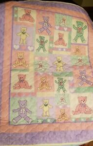 Personalized Quilted Teddy Bears baby quilt wall hanging
