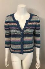 J. Jill Blue Purple Striped Cotton Blend Cardigan Sweater Size XS