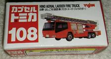 TOMY CAPSULE TOMICA MINI VEHICLE #108 HINO AERIAL LADDER FIRE TRUCK NEW IN BOX