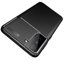 Hülle für Samsung Galaxy S21 5G Schutzhülle Silikon Case Schwarz Carbon Optik