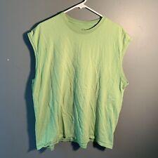 Fruit of the Loom Unisex Size 2XL Sleeveless T-Shirt Crewneck Light Green Faded