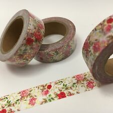 Red Pink White Roses Floral Flowers Washi Tape 15mmx10m