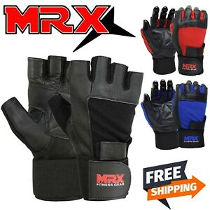 Men Gym Gloves With Wrist Wrap Workout Weight Lifting Grip Fitness Exercise MRX