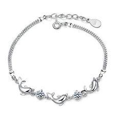 Bracciale delfini placcato argento con zirconi / Dolphins silver plated bracelet