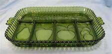 Avocado Green Pressed Glass Tray Celery Relish Dish Mid Century Modern Fruit (O)