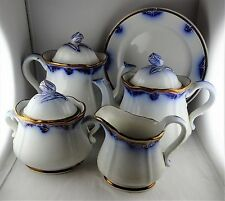 Flow Blue English Ironstone Group, Flower Finials: 2 Coffee Pots, Sugar, Creamer